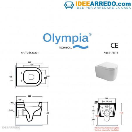 drap sanitaire sans monture Tutto Evo Olympia Ceramca