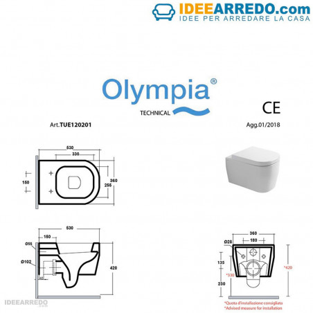 vase de toilette marron mesure Tutto Evo Olympia Ceramica