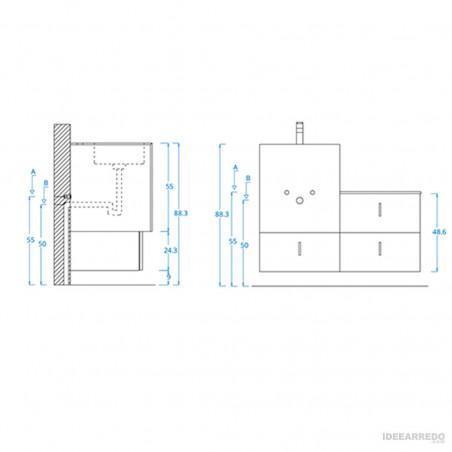 feuille d'assemblage de meubles de salle de bain suspendus bon marché Funky 01 BMT Bagni