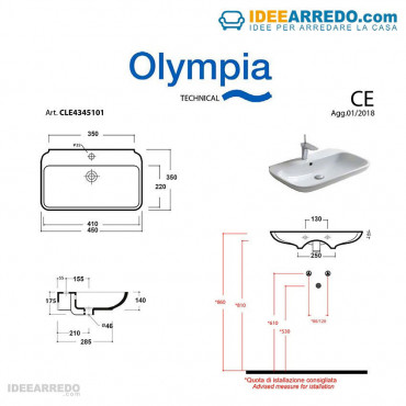 vasques suspendues design Clear Olympia Ceramica