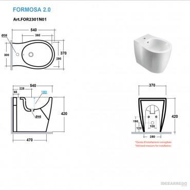 vater e bidet filo muro scheda tecnica Formosa 2.0 Olympia Ceramica