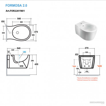 sanitari sospesi misure Formosa 2.0 Olympia Ceramica