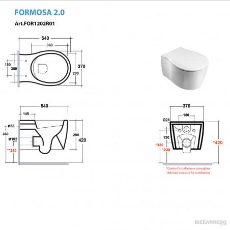 toilettes suspendues mesures Formosa 2.0 Olympia Ceramica