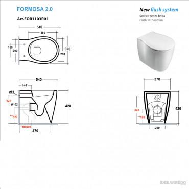 fiche technique toilettes dos au mur Formosa 2.0 Olympia Ceramica