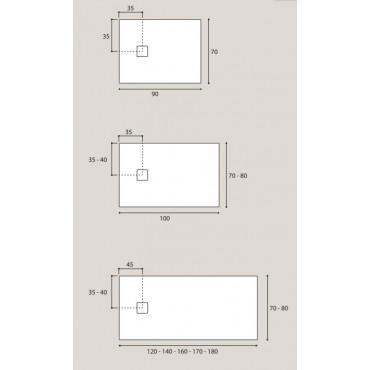 receveur de douche rectangulaire en résine marbre Plan