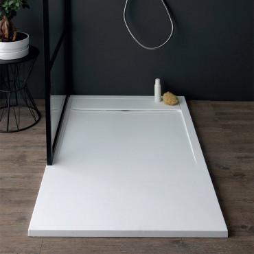 Receveur de douche rectangulaire en résine marbre blanc h3 Slide Colacril