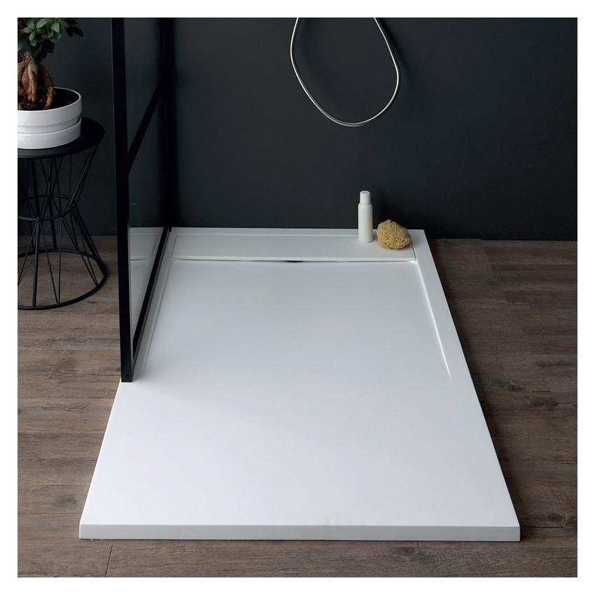 Piatto doccia in marmoresina bianco rettangolare h3 Slide Colacril