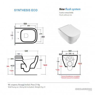senza brida wc scheda tecnica Synthesis Eco Olympia Ceramica