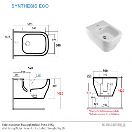 altezza bidet sospeso scheda tecnica Synthesis Eco Olympia Ceramica