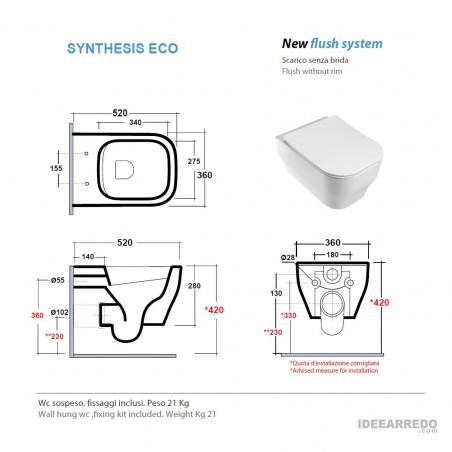 wc suspendu mesure Synthesis Eco Olympia Ceramica