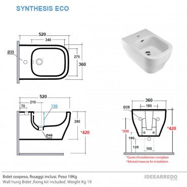 bidet suspendu mesure Synthesis Eco Olympia Ceramica