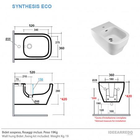 bidet sospesi misure Synthesis Eco Olympia Ceramica