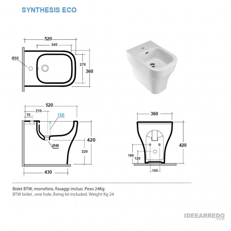 sanitari filo muro misure Synthesis Eco Olympia ceramica