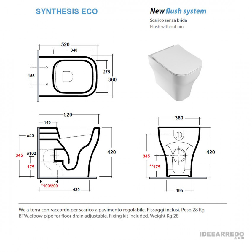 scheda tecnica wc filo muro Synthesis Eco Olympia ceramica