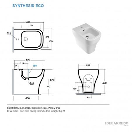 bidet monté au sol mesure Synthesis Eco Olympia Ceramic
