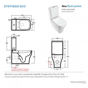 mesure la chasse d'eau avec réservoir externe Synthesis Eco Olympia Ceramica