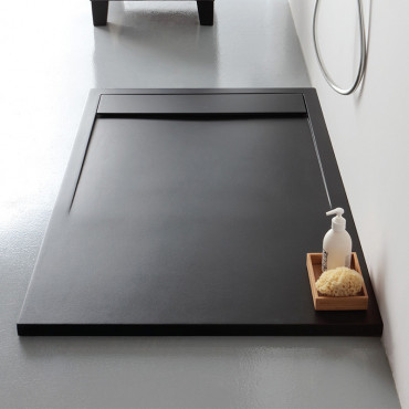 Receveur de douche rectangulaire en résine marbre noir h3 Slide Colacril