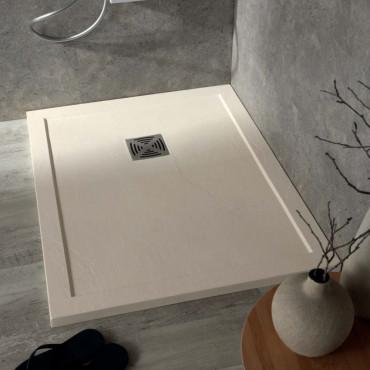 Plato de ducha plano cuadrado de resina mármol efecto piedra con borde Colacril
