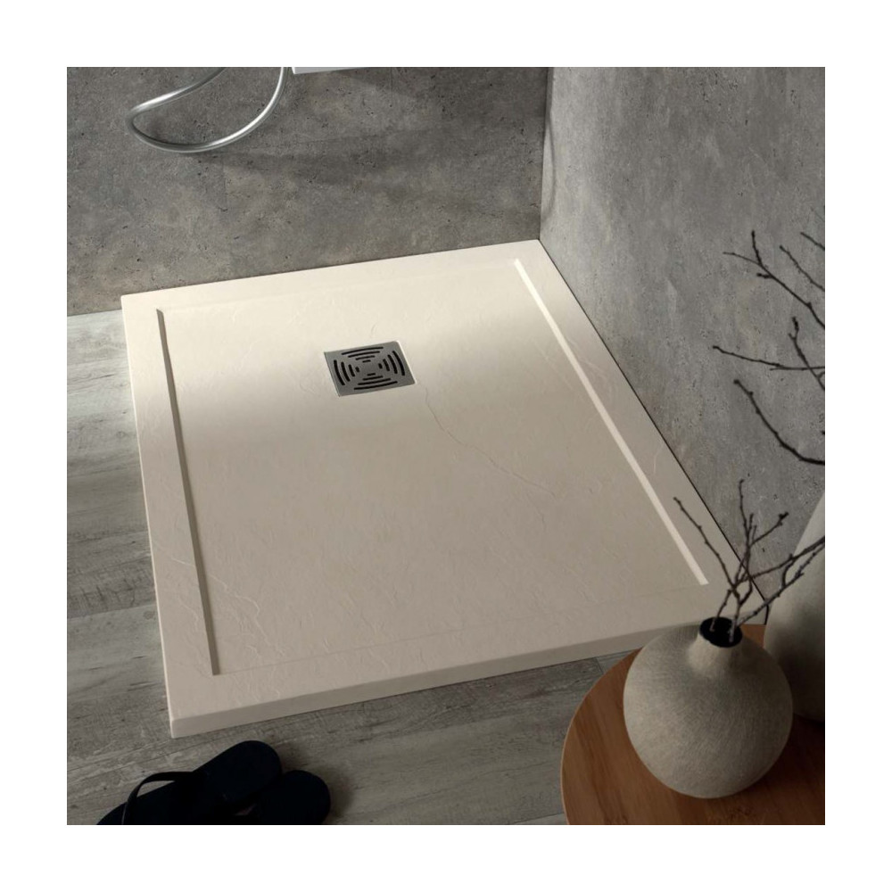 piatto doccia in marmo resina effetto pietra Flat quadrato con bordo Colacril