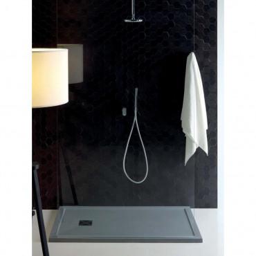 piatto doccia grigio cemento marmo resina effetto pietra Flat con bordo