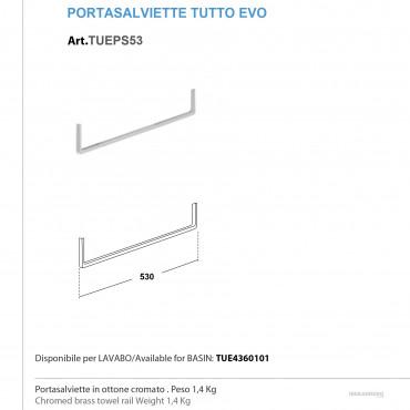 scheda tecnica portasalviette lavabo Tutto Evo 53 cm finitura cromo Olympia