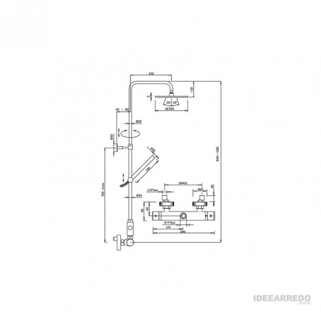 mitigeur thermostatique pour colonne de douche AD-Q360 Gaboli Fratelli Rubinetteria