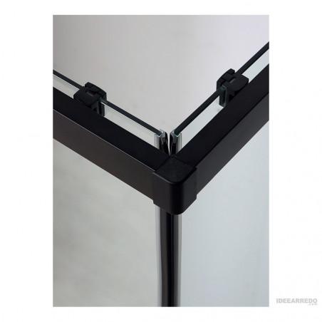 Cabina doccia profili neri angolare ante scorrevoli Rapid Colacril dettaglio
