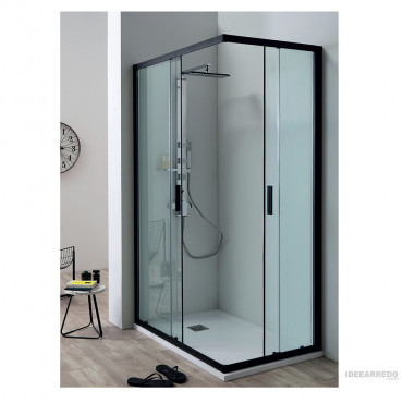 Black corner shower...