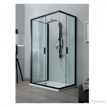 Box doccia profili neri centro parete con ante scorrevoli Rapid Colacril