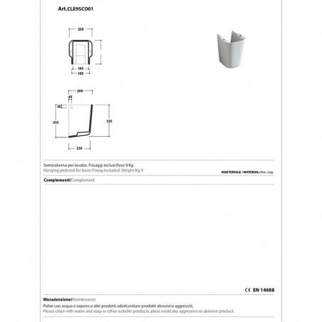 Technisches Datenblatt Halbsäulenwaschbecken Clear