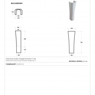 Column for Synthesis Olympia Ceramica washbasin