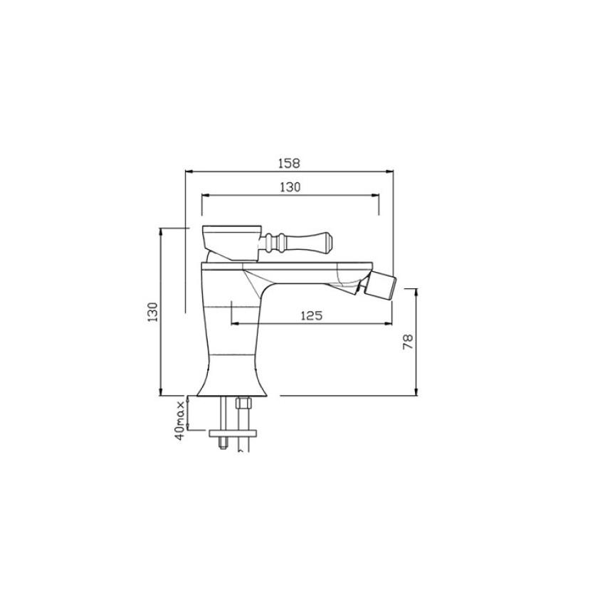 rubinetto bidet nero opaco Betty 5407 Gaboli Fratelli Rubinetteria