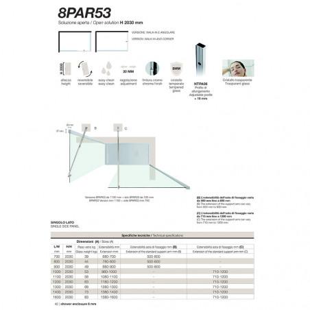 box doccia walk in misure 8PAR53 Colacril