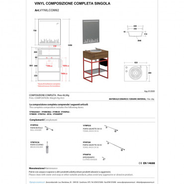 dimensioni mobile bagno design Vynil Olympia - scheda tecnica