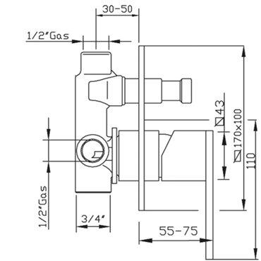 Technisches Datenblatt Brause-Einbaumischer Klip 2830 Gaboli Fratelli Rubinetteria