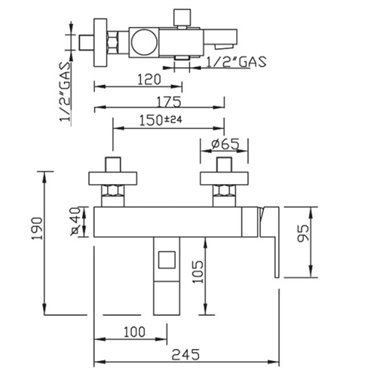 Duscharmaturen New Space 3310 Gaboli Fratelli Rubinetteria