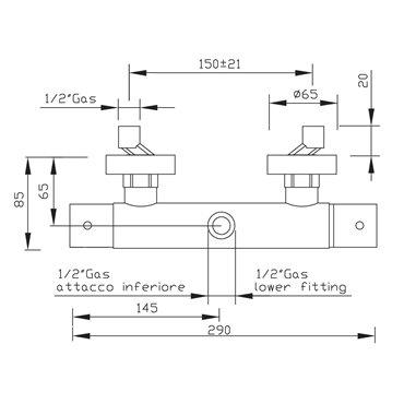 miscelatore termostatico esterno doccia 2437 Gaboli Fratelli rubinetteria