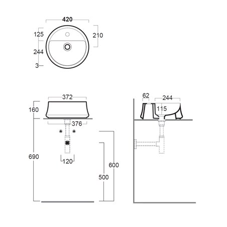 misure lavabo da appoggio SH03 Sharp Simas