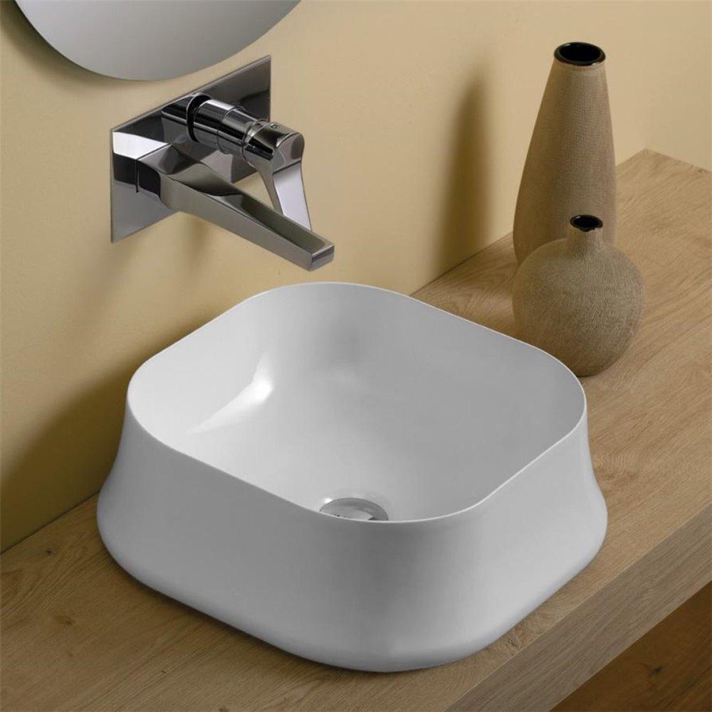 Lavabo da appoggio quadrato SH06 Sharp Simas Ceramica