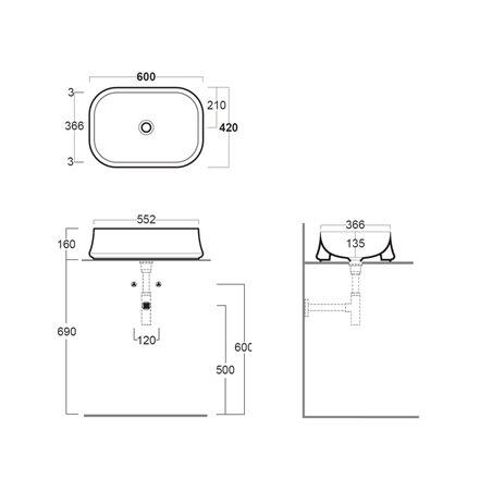 lavabi rettangolari da appoggio SH08 Sharp Simas
