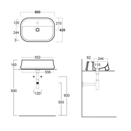 lavabo da appoggio rettangolare misure SH09 Sharp Simas