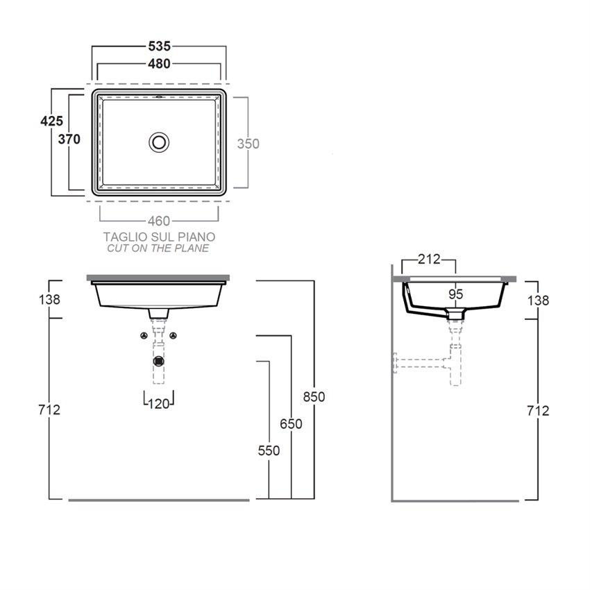 lavabi sottopiano rettangolari S59 Agile Simas