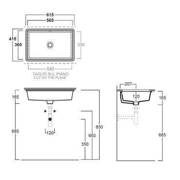 lavabo da incasso sottopiano Agile S60 Simas