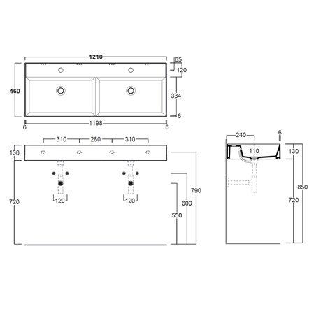 misura doppio lavabo Agile AG121D Simas
