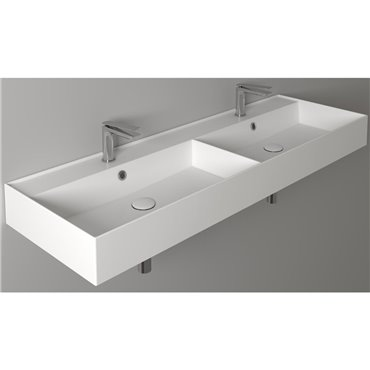 Lavandino doppio bagno lavabo 140 cm AG141D Ceramica Simas