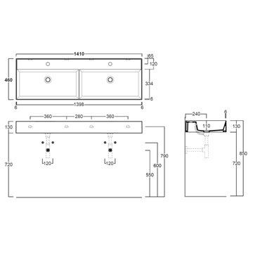 lavabo doppia vasca AG141D Agile Ceramica Simas