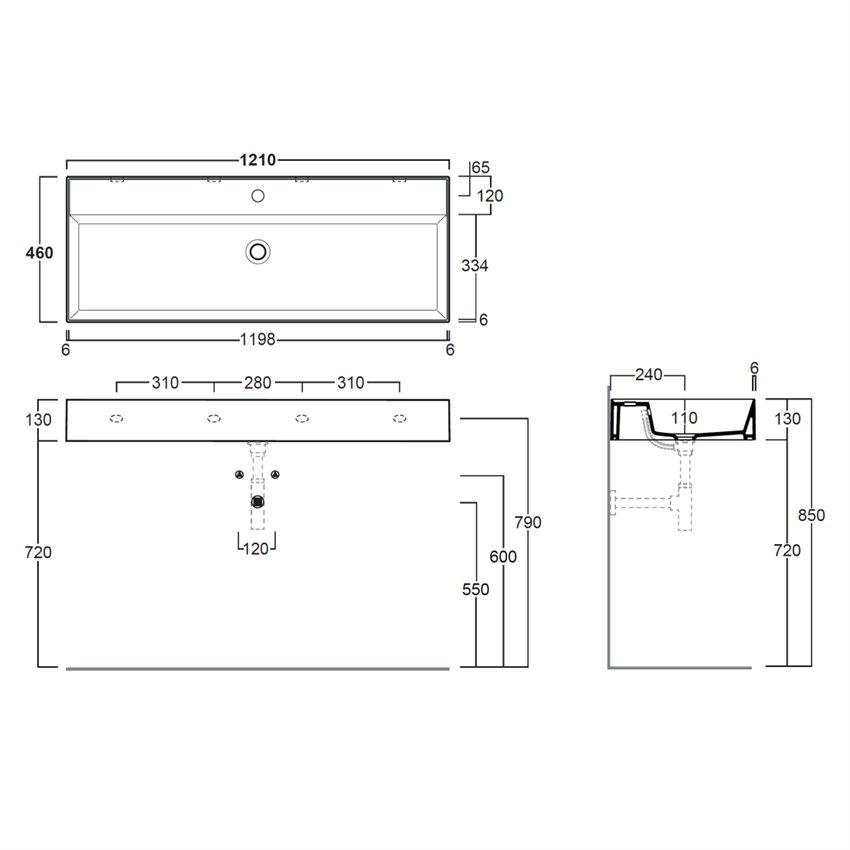 lavabo 120 cm Agile AG121 Simas