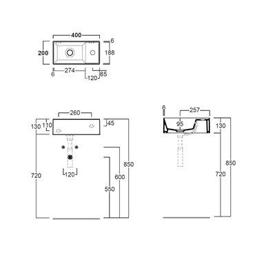 lavabo piccolo sospeso Agile AG20 Simas