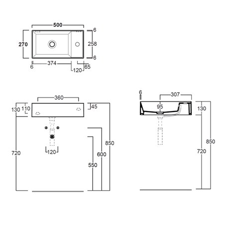 lavandino bagno piccolo dimensioni Agile AG50 Simas