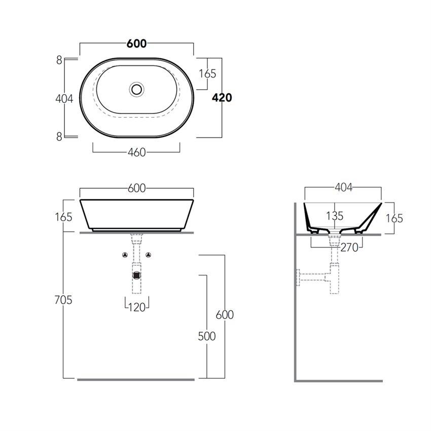 lavabo 60 cm WA02 Wave Ceramica Simas